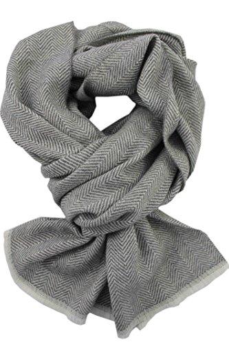 Rotfuchs Écharpe Webschal Uni à chevrons à la mode gris 100% laine (Mérinos)