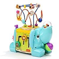 GIOCO INTERATTIVO: Con il centro attività bambini Top Bright, il tuo bambino può divertirsi e imparare al tempo stesso! Il cubo attività legno ha 5 lati diversi tra cui un ingranaggio che gira arcobaleno, una ruota che gira, sfere per il conteggio de...