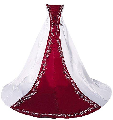 Faironly H36 trägerloses Stickerei Weiß Rot Brautkleider (L)
