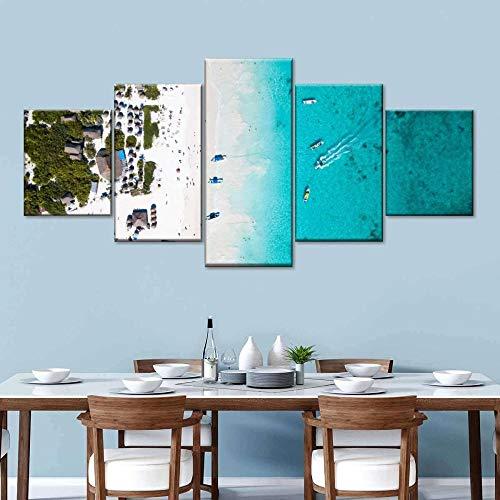 GSDFSD Antena de Playa de México Impresión de 5 Piezas Material Tejido no Tejido Impresión Artística Imagen Gráfica Decoracion de Pared Abstracto Oriente Cuadros Modernos Imagen