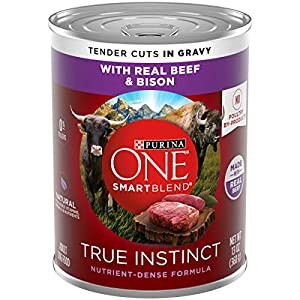 Purina ONE Natural Wet Dog Food, SmartBlend True Instinct Tender Cuts in Gravy with Real Beef & Bison – (12) 13 oz. Cans