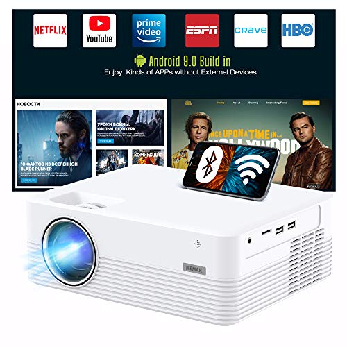 """JEEMAK Smart Projector, Android WiFi Bluetooth Projector, Mini Portable Wireless Projector, 5000 Lux, LED Video Projector for iPhone, HD 1080P Supported and 170"""" Display, Outdoor Movie Projector"""