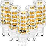 Bombillas LED G9, Luz Blanca Cálida 3000K, 4.5W 320 LEDs 580 Lumens (Equivalente a Bombilla Halógena 50W), con Casquillo Estándar G9, Iluminación Led 360°Ángulo Sin Parpadeo, No Regulable, 5 Piezas