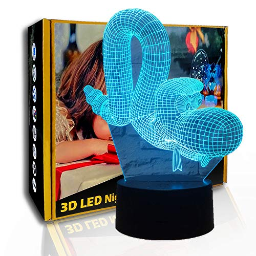 JINYI 3D-Nachtlicht-Cartoon-Raupe, LED-Illusionslampe, Kindergeschenk, E - Alarm Clock Base (7 Farbe), Optische Täuschungslampe, Geschenk für Kind, Warme Lampe, Geschenk für Jungen