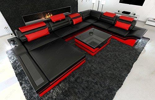 Leder Wohnlandschaft Mezzo XXL modernes Sofa mit LED schwarz rot