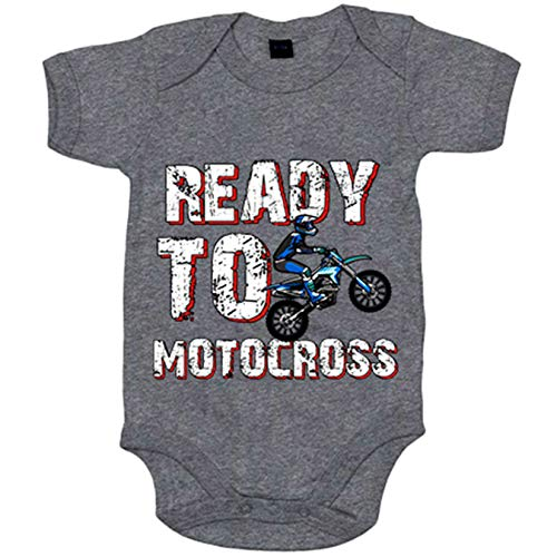 Body bebé Ready To Motocross - Gris, 12-18 meses