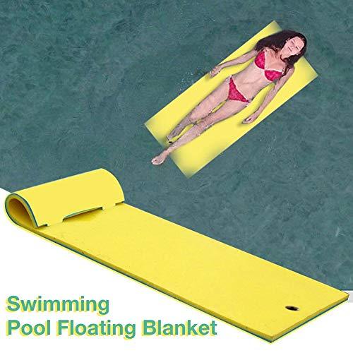 Knowledgi 180 cm x 60 x 3,5 cm Floating Water Pad, 3 capas Tear-Resistant XPE Foam Mat, Roll-Up Floating Water Pad Mat, Water Hammock Pool Float Water Blanket for Pool Lake Ocean Boat