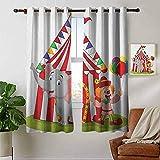 Cortinas personalizadas Circo, elefante lindo de dibujos animados de pie con carpa de circo payaso Disfrute de la ilustración del parque de atracciones, multicolor, cortinas opacas para la sala de est