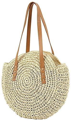Bolso tejido redondo - Bolsos de playa de verano de paja tejida a mano con un solo hombro con cremallera, asas de cuero grandes 45x42 cm
