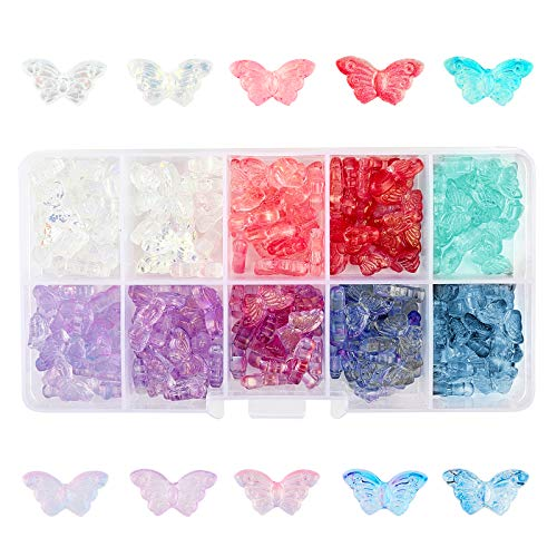 SUPERFINDINGS 200 Uds 10 Colores Cuentas de Cristal de Mariposa 14.5x8x3.5mm Cuentas de Cristal Transparente Electrochapadas para Hacer Joyas Pulseras Collares