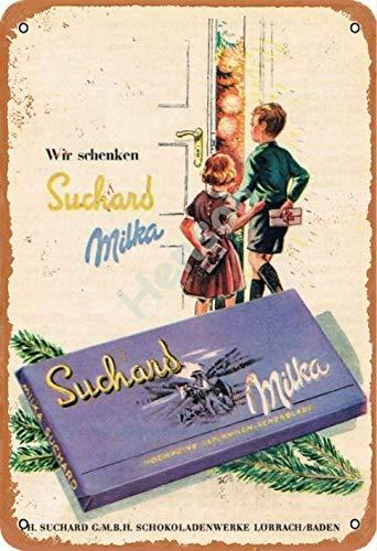 Vvision Wir Schenken Suchard Milka Chocolate Signe d'étain Affiche en métal Panneau d'avertissement rétro Plaque de Fer Plaque Affiche Vintage Chambre Mur de la Maison en Aluminium Art décoration