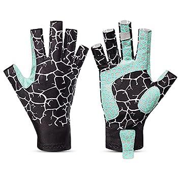Snowvan UV Protection Fishing Gloves for Men and Women UPF50+ Sun Fingerless Gloves for Sailing Cycling Boating Kayaking Padding Surfing Hiking  Black Line S