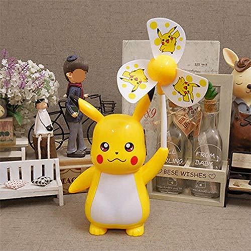 BaoQia Cartoon Kleiner Lüfter, der Nachtlicht stummschaltet, stumm USB-elektrischer Lüfter-Pikachu 3_17 * 9,5 * 26