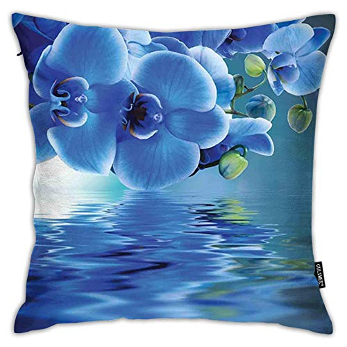 FULIYA Pillowcases,Orchids Asian Natural Flowers Reflections on Water for Spring Time Relaxing Print,Decorative Square Accent Throw Pillow Cushion Cover,18'x 18'