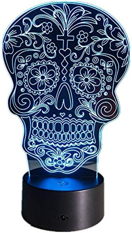 ZHJXQD 3D dekoratives Nachtlicht Schdel Nachtlicht USB Oder Batterie 7 Farben ndern LED Schreibtischlampe Tischleuchte mit Touch-Taste Wohnkultur Lampe Emotionales Nachtlicht
