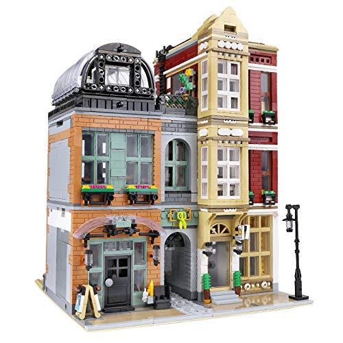 KEAYO Bausteine Haus, 4087 Teile Groß Modular Schuhladen Modellbausatz mit Beleuchtung, Klemmbausteine Gebäude Modell Kompatibel mit Lego Haus