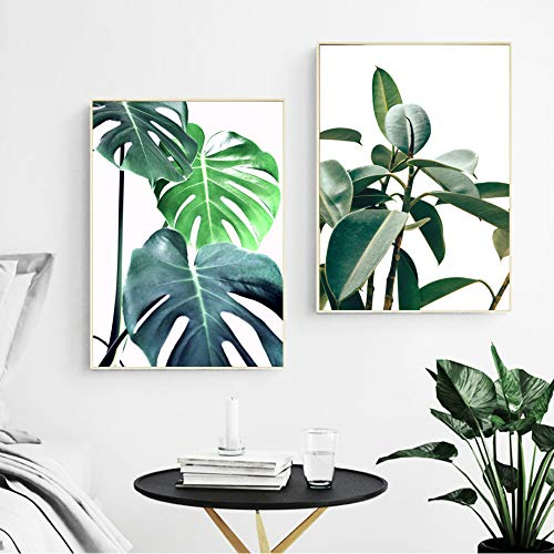 SDFSD Tropical Monstera Leaf Plant Nordic Posters and Prints Wall Art Canvas Painting Scandinavian Wall Pictures para la decoración de la Sala de Estar 55x95cm * 2pcs