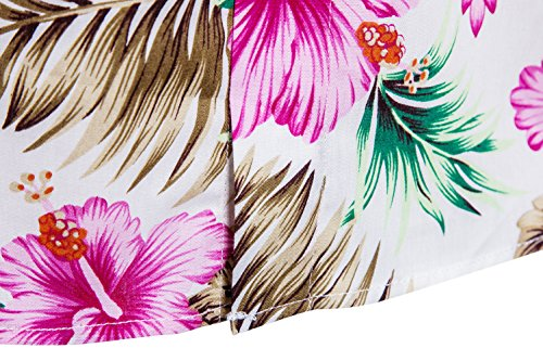 SIR7 Men's Hawaiian Flower Ptint Casual Button Down Short Sleeve Shirt Pink XL