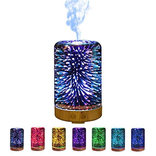 Sfit Humidificateur Purificateur d'air Ultrasonique Silencieux Diffuseur de Parfum 3D 90-100ML LED 7 Couleurs pour Yoga Spa Voiture Maison Bureau