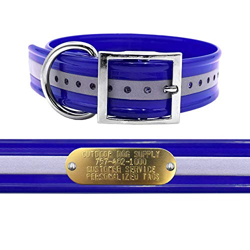 "1 1/2"" Wide D Ring Reflective Hunting Dog Collar with Free Brass Name Plate (Reflective Dark Blue)"