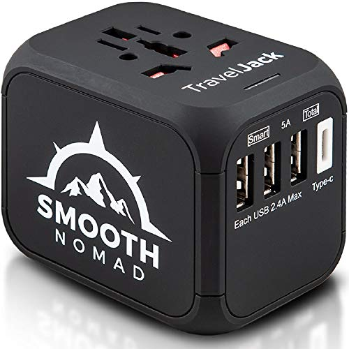 International Travel Adapter - Wall Charger 3 USB Ports +1 Type C - Fuse Protection from Surge - Universal Power Adapter ​​​​with US EU UK AU Outlet Plug works on 110V-220V 1500W/6A