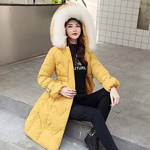 WFSDKN dames donsjack 2019 nieuwe extra grote jas winterjas dames lederen kraag met capuchon katoen mantel lange parka dames geel