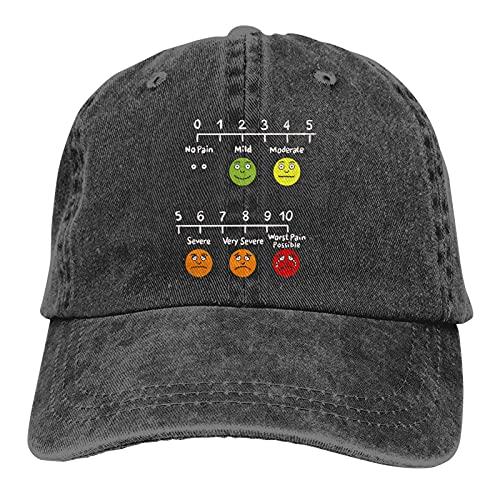 Jopath Útil sombrero de evaluación del dolor de la infografía de la enfermera, gorra de béisbol ajustable, lavable, gorra de algodón para papá
