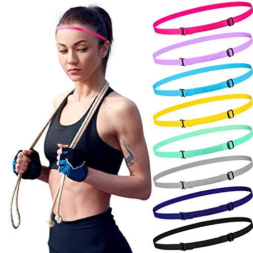 24 Stück Dünn Elastisch Sport Stirnbänder Verstellbar Dünn Sportlich Haarband 8 Farben Mini Rutschfest Stirnband für Damen Männer und Kinder