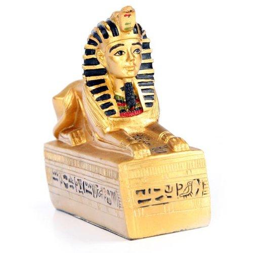 Golden Egyptian Sphinx on Hieroglyphic Base