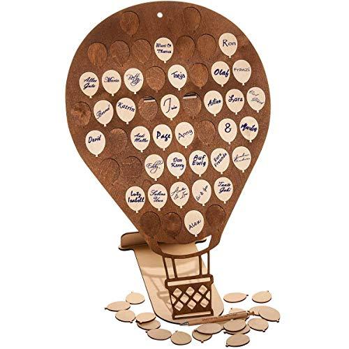 Spreukenband premium kwaliteit 100% emotioneel · XL gastenboek van hout voor bruiloft · heteluchtballon met 50 houten ballonnen om te beschrijven · gastenboek voor verjaardag · doop · jubileum · Kerstmis · feest