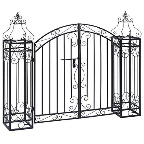 Goliraya Cancello Ornamentale da Giardino a Doppia Anta in Ferro Battuto,Cacello per Recinzione,Cancello in Metallo,Cancello da Esterno,Cancello in Acciaio 22x20,5x100 cm
