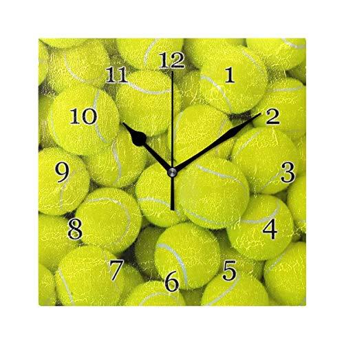 Orologio da parete con pallina da tennis sportiva Orologio da pittura quadrato silenzioso senza ticchettio per decorazioni scolastiche da ufficio a casa