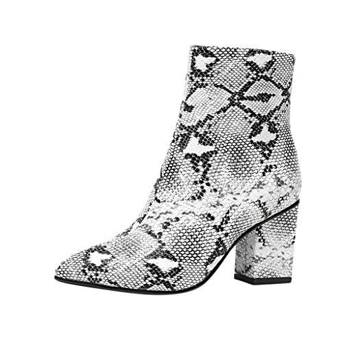 SHE.White Damen Stiefel, Elegant Frauen Schlangenleder Druck Kurz Ankle Boots Britischen Stil Chelsea Boots Herbst Winter Warm Stiefeletten Freizeit Booties High Heels