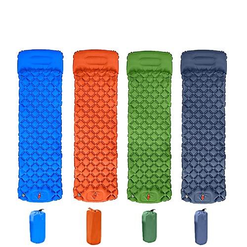 Colchoneta para dormir para carpa al aire libre — muy liviana y fácil de transportar— impermeable y a prueba de humedad—cojín inflable individual con almohada—adecuado para acampar y caminar,Verde