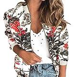 Las mujeres Chaquetas Retro Floral Impreso Señoras Cremallera Hasta Bomber Outwear Primavera Largo