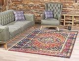 SANAT Teppich Vintage - Modern Teppiche für Wohnzimmer, Kurzflor Teppich in Mehrfarbig, Öko-Tex...