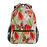 赤い花蝶 バックパック スクール ブックバッグ 旅行 ショルダー ラップトップ バッグ レディース メンズ 用