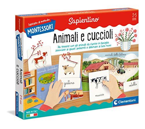 Clementoni - 16271 - Montessori - Gli Animali e i loro cuccioli - Made in Italy, gioco Montessori 2 anni, gioco educativo metodo montessoriano (Versione in Italiano)