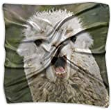 Pañuelo de seda con diseño de oveja, de poliéster, cuadrado, mulipurposo, estampado delicado