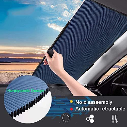 Retractable Windshield Sun Shade for Car, Cordless Cellular Sun Visor...