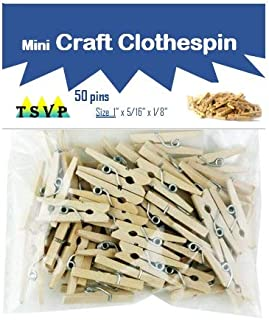 Mini Clothes Pins for Arts n Crafts| 50 Clothespins per Pack, Natural Wood| Small Hanging Clips/Pegs/Hooks for DIY Projects, Vintage Instant-Print Picture/Photograph Wall Hanging & More