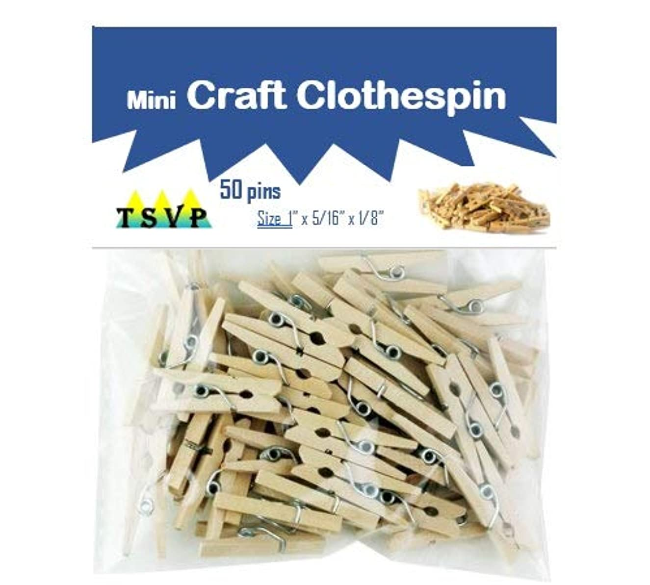Mini Clothes Pins for Arts n Crafts  50 Clothespins per Pack, Natural Wood  Small Hanging Clips/Pegs/Hooks for DIY Projects, Vintage Instant-Print Picture/Photograph Wall Hanging & More