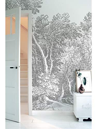 KEK Amsterdam Engraved Landscape V, 6-delig fotobehang - zwart-wit (280cm x 292,2cm)