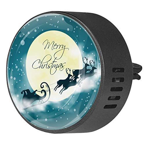 Josid Ambientador de coche con clip de 40 mm, para invierno, nieve, Papá Noel, reno, Navidad, 2 unidades