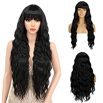 Vogeen Long Hair Wigs with Bangs for Black Women Natural Wave Curly Wig Synthetic Hair Long Wig Wavy Bangs Black Cosplay Party Bang Wigs for Women 30 inches