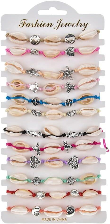 TranTran NTP 12pcs/lot Crystal Shell Braided Rope Bracelet Set Handmade Adjustable Letter Beads Bracelets for Women Girls Kids Cuff Jewelry - B2454 A