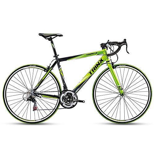 Trinx TEMPO1.0 700C Road Bike 21 Speed Racing Bicycle 53cm 56cm (Black/Green, 53cm)