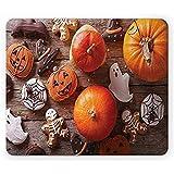 ELIST Mauspad mit Halloween-Motiv, 25 x 30 cm, wunderschönes leckeres Ingwer-Kekse als Skelett-Hut und frische Kürbisse, rutschfestes Gummi-Mauspad