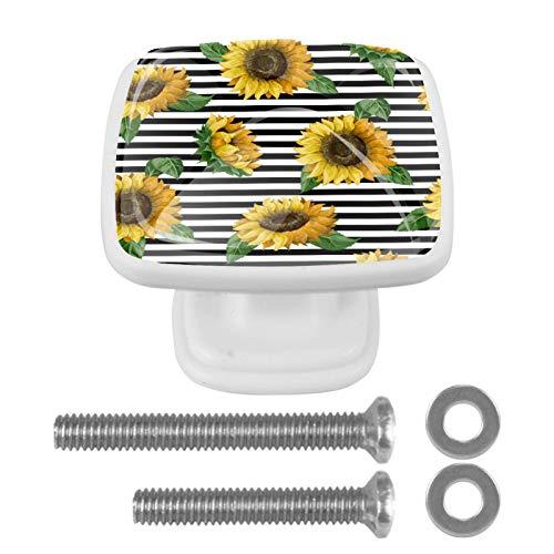 Pomos cuadrados para armario de cocina, 4 piezas de manijas de cajón de hardware girasoles en una cinta