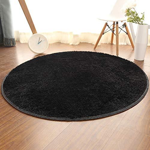 Shengwan Tappeto Rotondo a Pelo Corto Morbido Yoga Tappeto Decorativo Soggiorno Camera Nero Diametro 80cm